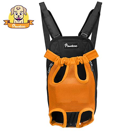 Front Legs Carrier Out (PAWABOO Pet Carrier Backpack, Adjustable Pet Front Cat Dog Carrier Backpack Travel Bag, Legs Out, Easy-Fit for Traveling Hiking Camping, Medium Size, Orange)