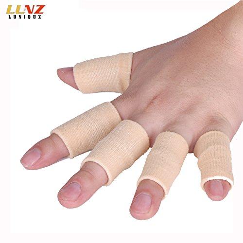 Finger Sleeves Support by Luniquz, Thumb Splint Brace for Arthritis Breathable Elastic Finger Tape for Basketball, Tennis,Baseball, Cricket, Volleyball, Badminton, Boating (Finger Brace)