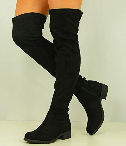 Talon Sur Fashion Bloc En Uk Neuf Basses Chaussures Femmes Imitation Éclair Pour Genou Bottes Taille Fermeture Le Cucu Daim 3 w7dqEFw