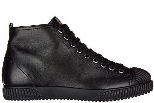 Prada scarpe sneakers alte donna in pelle nuove vitello soft nero