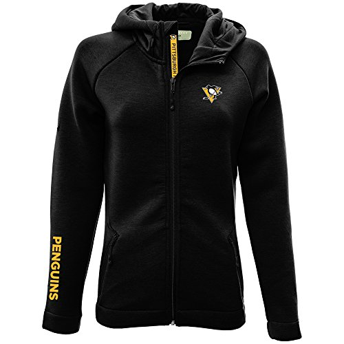 Levelwear LEY9R NHL Pittsburgh Penguins Adult Women Motion Insignia Bold Full Zip Hooded Jacket, Small, Black