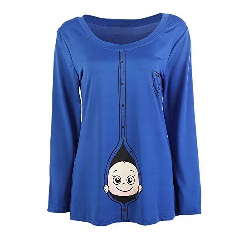 (Romance8 Large Size Pregnant Women T-Shirt Long Sleeve Cute)
