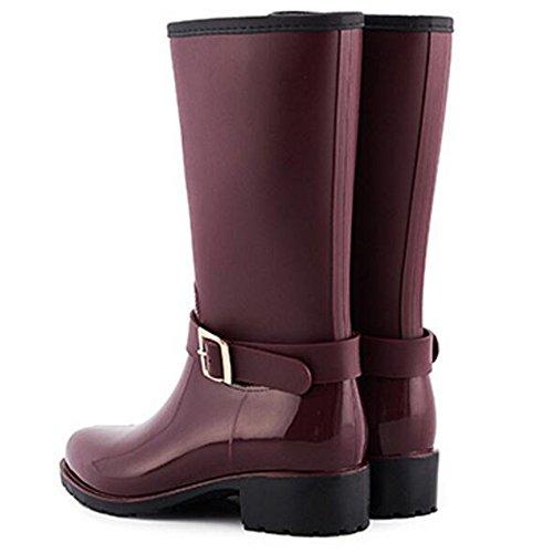 Mid Boots Booties TONGPU Fashion Women's Fuchsia Waterproof Calf qHSp8
