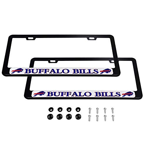 CHNNFC 2 Pack Luxury Stainless Steel License Plate Frame and Colored Auto Emblem (Buffalo Bills)
