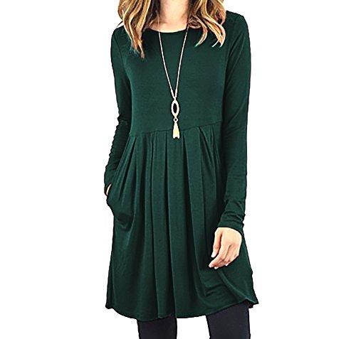 Fanfly Women's Pleated Swing Dress Long Sleeve Casual T Shirt Dress With Pockets, Dark Green, 3X (Dg Online Shop)