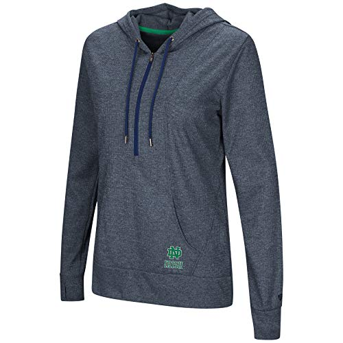 (Colosseum NCAA Women's -Sugar- Casual Waffle Knit 1/2 Zip Hoodie Pullover-Notre Dame Fighting Irish-Heathered Navy-Small)