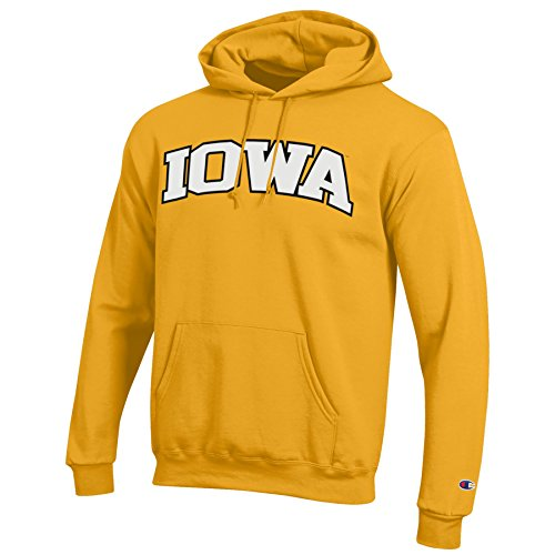 - Champion NCAA Iowa Hawkeyes Men's Eco Power Blend Hooded Sweat Shirt, Large, Gold