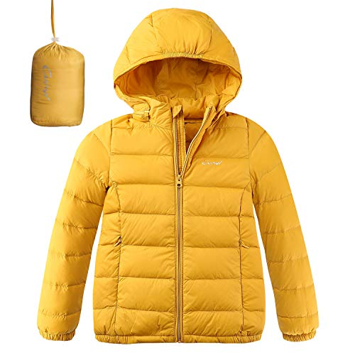CUNYI Boys Girls Hooded Portable Lightweight Down Jacket Coats, Yellow, 6-7/130