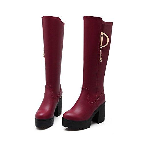 AllhqFashion Damen Ziehen auf Niedriger Absatz PU Leder Rein Knie Hohe Stiefel, Rot, 36