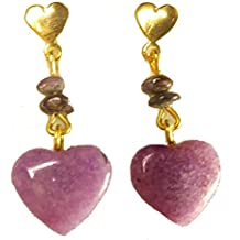 Purple Charoite Heart Dangle Earrings - 100% Exotic Russian Gemstone