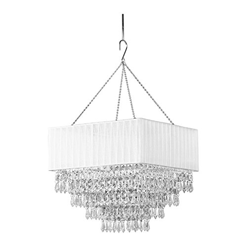 ZAPPOBZ HLL1101 Square Deco Crystal Chandelier, White