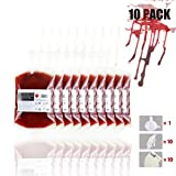 Halloween Blood Bags Drink Container,Blood Bag Drink Pouches,Reusable Live Blood cups of Theme Parties ,10 pack,Set of Labels ,Funnel and Clips,400ML ,Halloween Zombie Party and Nursing School Graduation Party Favors,Party Decoration for Drinks Empty