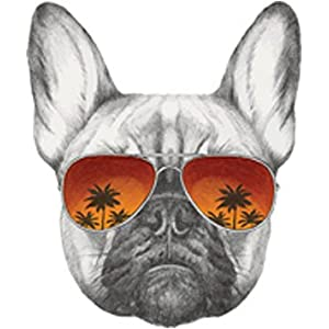 """Cool Pencil Sketch Frenchie French Bulldog with Sunset Sunglasses Vinyl Decal Sticker (4"""" Tall)"""