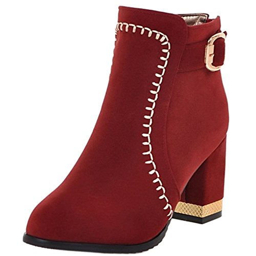 Tacchi Stivaletti Winter Shoes Ladies High Autumn Con Block Ankle Coolcept Red Fashion aXUA4