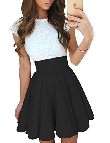 Ninimour Women's Trendy Splicing High Waist Pleated Lace Mini A-line Dress Black M