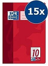 Oxford - Cuaderno (A5, diseño 10, cuadrícula, con recuadro, 16 hojas, lote de 15 unidades)