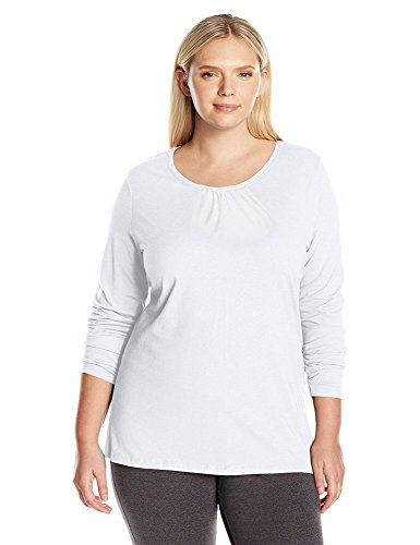 Just My Size ComfortBlend Shirred Crew-Neck Long-Sleeve T-Shirt, White, 5X -