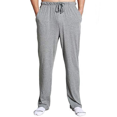 XINJU Men's Pajama Lounge Sleep Pants 100% Cotton Jersey Knit Lightweight Super Soft Bottoms Sleepwear Drawstring (Small, Heathered Beige) ()