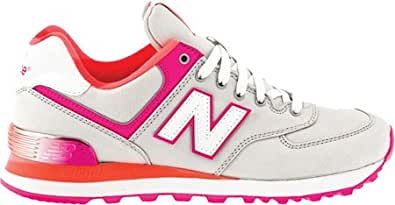 New Balance Women's WL574,Grey/Pink/Red,US 10.5 B