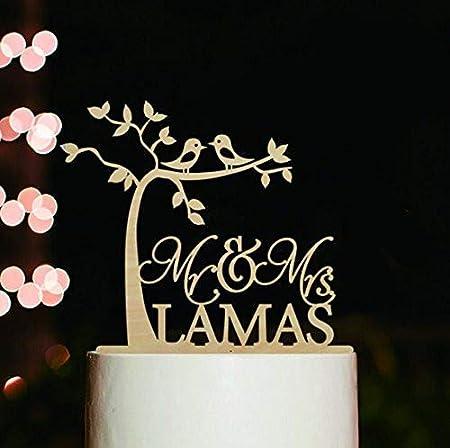 Personalised wedding cake topper en Acrylique Miroir Mr /& Mrs ou noms /& date