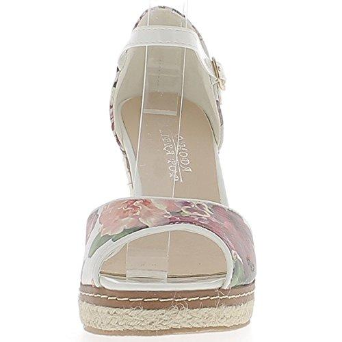 Cuero 10cm Zapatillas Mujer con Compensado Blanco Estampado Mirada Tacón OBwYn