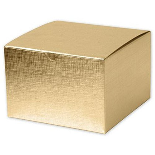 Metallic Gold Linen Gift Box - 6in. x 4.5in. x 4.5in. (25)