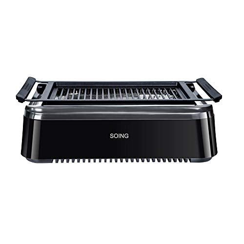 (Soing Smoke-less Indoor BBQ Grilll, Electric Tabletop Grill, Non-Stick Easy to Clean BBQ Grill, ETL Certified, Black )