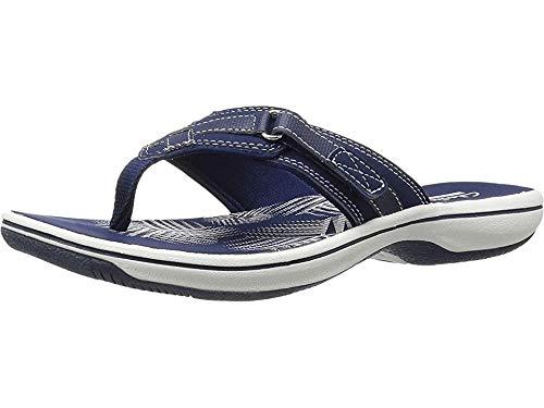 Clarks Women's Breeze Sea Flip Flop, New Navy Synthetic, 12 B(M) - Sandals Designed Summer Women