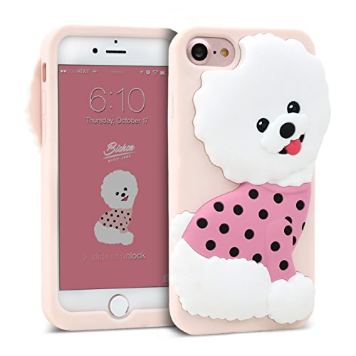 iPhone 8 / iPhone 7 Case DesignSkin WITTY LOOK 3D Cute Puppy Dog Pet Protective Shock Absorbing Anti-Slip Flexible Soft Silicone Cover, For iPhone 8/7 Compatible w/ iPhone 6s/6 (Pink & Bichon Frise)