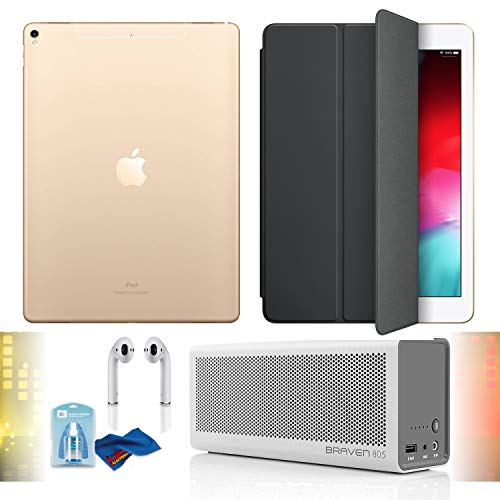 """Price comparison product image 12.9"""" iPad Pro (Mid 2017,  512GB,  Wi-Fi + 4G LTE,  Gold),  Airpods,  Char Gray Smart Cover,  Braven Speaker Built-in 4400 mAh Power Bank Charger and Cleaning Kit Bundle"""