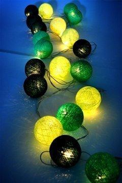 Design by UnseenThailand Green Tone Handmade Cotton Ball String Lights Decoration (3metre 20 Globes/pack) Decor Wedding Bedroom Garden Spa and Holiday Lighting. (Dark Green - Green - Light Green)