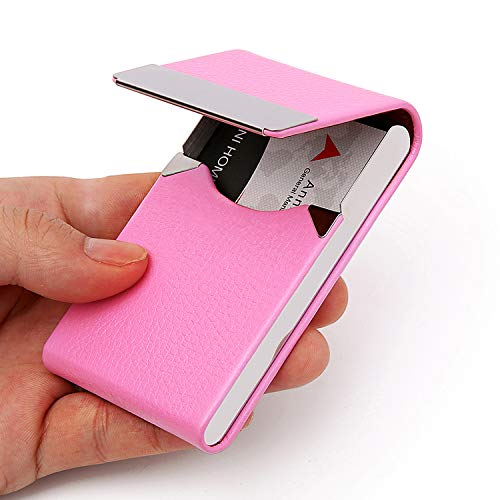 DMFLY PU Leather Business Card Holder for Women Metal Business Card Case Slim Professional Name Card Holder with Magnetic Shut, - Card Business Pink