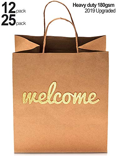 (Welcome Gift Bags - 25 Pack - 180gsm High Quality Heavy Duty Paper - Double Sided Gold Foil - 10.5