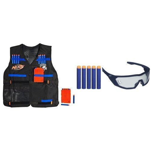 Nerf N-Strike Elite Tactical Vest Kit and Nerf N-Strike Elite Vision Gear Toy - Colors May Vary Bundle by Nerf