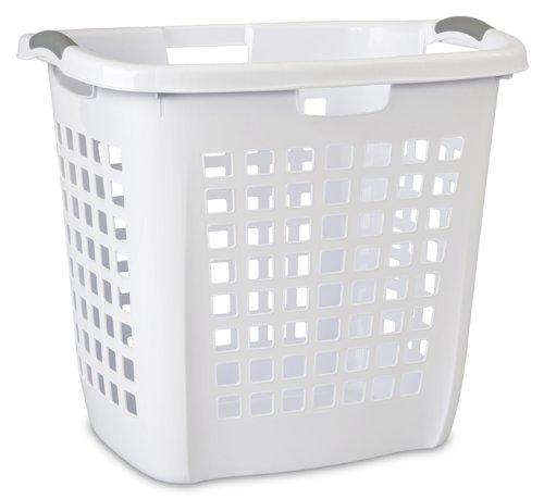 Sterilite 12258004 Ultra Easy Carry Hamper, White Hamper w/ Titanium Inserts, 4-Pack - Ultra Laundry Basket