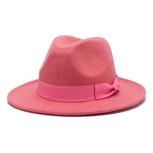 Fedora Pink Hat (HH HOFNEN 100% Wool Fedora Hats for Women Vintage Wide Brim Fedora Cap (Pink))