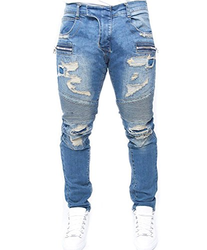 BEAdressy Men Vintage Destroyed Ripped Denim Cotton Jeans Stretch Pants With Fake Zipper Pocket (XXL, Type1) (Zipper Pant Pocket Denim)