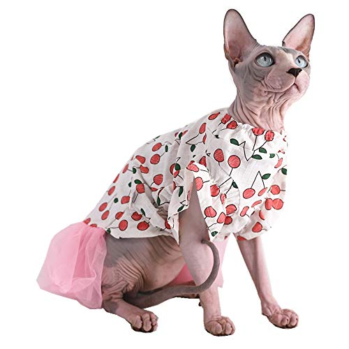 Sphynx Hairless Cat Cute Breathable Summer Cotton Dress Skirt Shirts Pet Clothes, Cherry Pattern Kitten T-Shirts with Sleeves, Cats & Small Dogs Apparel