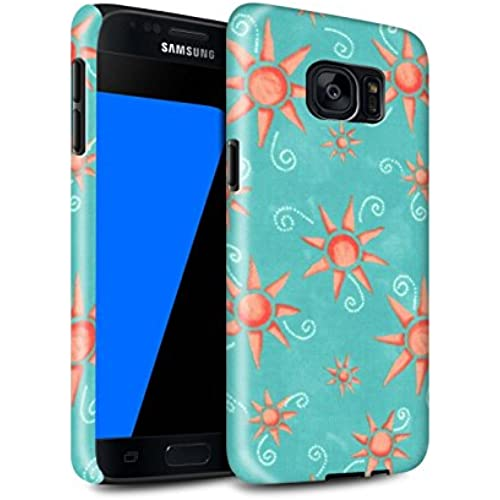STUFF4 Gloss Tough Shock Proof Phone Case for Samsung Galaxy S7/G930 / Turquoise/Red Design / Sun/Sunshine Pattern Collection Sales