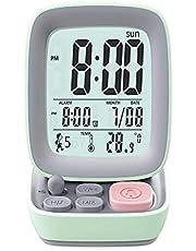 Blan Digital väckarklocka retro liten dator laddningsväckarklocka för barn och studenter med digital display liten enkel student väckarklocka med nattlampa
