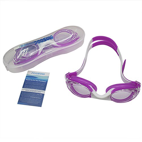 Silicone Kids Swim Goggle ,No Leaking Anti Fog UV Protection kid Swim Goggles Wide Face with Free Protection Case for Kids Early Teens (Purple with White) Purple Kids Goggles