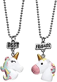 Unicorn BFF Best Friends Forever Tags Kids Pendant Necklace Set