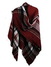 Missshorthair Winter Blanket Scarfs For Men Fashion Square Plaid Shawl Wrap