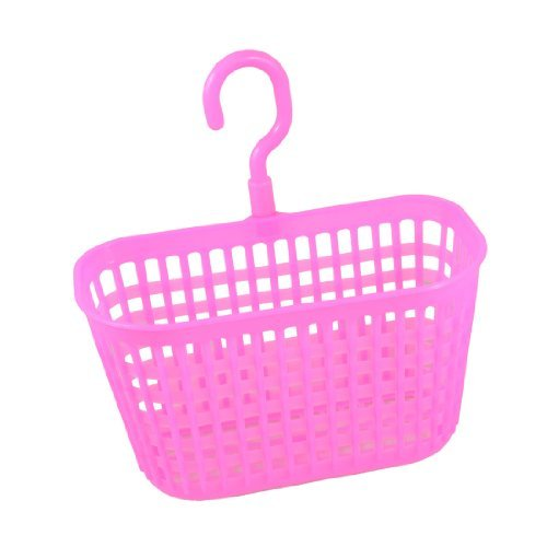 Water & Wood Rectangle Shaped Fuchsia Plastic Kitchen Storage Lattice Hook Basket with Car Cleaning Cloth