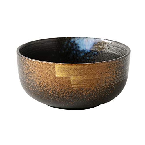- Rice Bowl Ceramic Glaze Color Craft Restaurant Hotel Retro Tableware for Noodle Salad Soup Round Brown