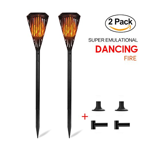 WENDOM Solor Fire Flame Torches Lights Waterproof Outdoor Pathway Landscape Decoration Lighting with 4 Modes Auto On/Off Light for Garden Patio Deck Yard Driveway-2 Pack by WENDOM