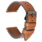 4 Colors for Watch Band 20mm, Fullmosa Genuine Leather Watch Strap Replacement for Men and Women,Light Brown + Smoky Grey Buckle