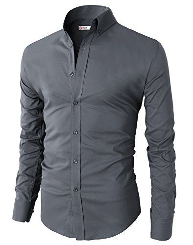 H2H Mens Casual Slim Fit Basic Designed Button Down Shirts GRAY US M/Asia L (KMTSTL0416)