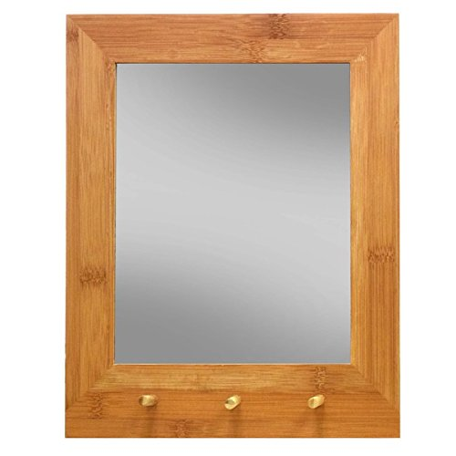 Wall Mirror with 3 Keys Holder Eco-friendly Bamboo Mirror in Casual, Coastal Style - 13.5 in x 10.75 in