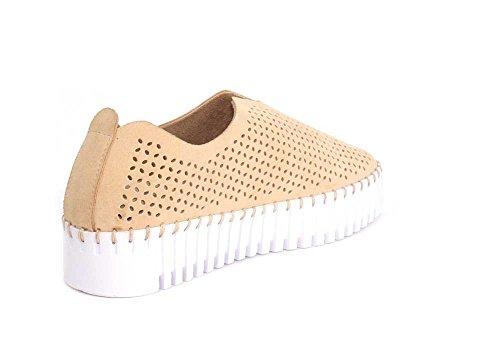 Jeffrey Campbell Kvinna Plattor Perforerad Slip-on Naturlig Mocka Sneaker - 10